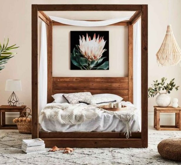 Rent To Own Kalise Reclaimed Timber 4 Poster Queen Bed
