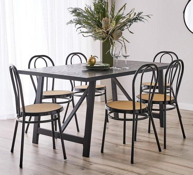 Rent To Own Nicholls 6 Seater Dining Set With Moulin Chairs